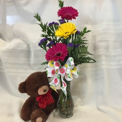 Bear's Delight Vase from Maplehurst Florist, local flower shop in Essex Junction