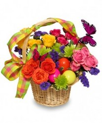 Easter Basket Arrangement from Maplehurst Florist, local flower shop in Essex Junction