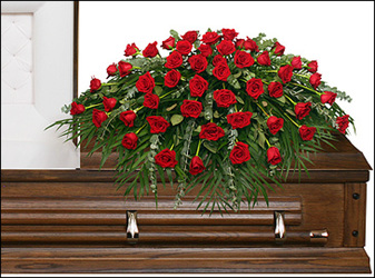 Blooming Red Roses Casket Spray from Maplehurst Florist, local flower shop in Essex Junction