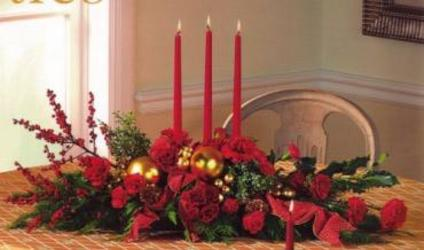 Triple Candle Centerpiece from Maplehurst Florist, local flower shop in Essex Junction