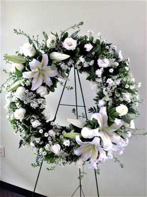 Maplehurst florist essex junction vt 05452 delivering fresh serenity wreath item no sw done with all white flowers mightylinksfo