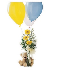 Welcome Bear Bouquet from Maplehurst Florist, local flower shop in Essex Junction