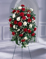Crimson & White Standing Spray from Maplehurst Florist, local flower shop in Essex Junction