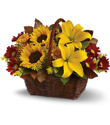 Golden Days Basket from Maplehurst Florist, local flower shop in Essex Junction