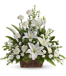 White Elegance Basket from Maplehurst Florist, local flower shop in Essex Junction