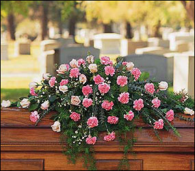 Heavenly Pink Casket Spray from Maplehurst Florist, local flower shop in Essex Junction