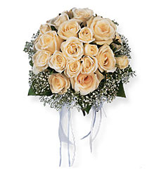 Hand-Tied White Roses Nosegay from Maplehurst Florist, local flower shop in Essex Junction