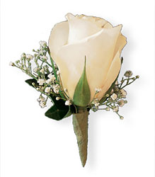 Rose and Baby's Breath Boutonniere from Maplehurst Florist, local flower shop in Essex Junction