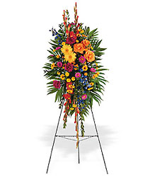 Celebration of Life Standing Spray from Maplehurst Florist, local flower shop in Essex Junction