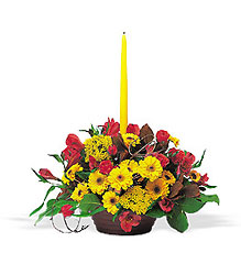 Harvest Centerpiece with Single Taper from Maplehurst Florist, local flower shop in Essex Junction